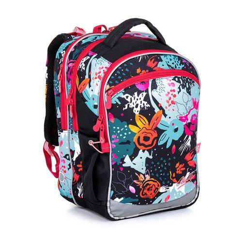 Černý školní batoh s barevnými kytičkami COCO 21006