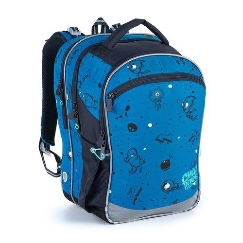 Modrá trojkomorá taška s príšerkami pre prvý stupeň ZŠ COCO 21017