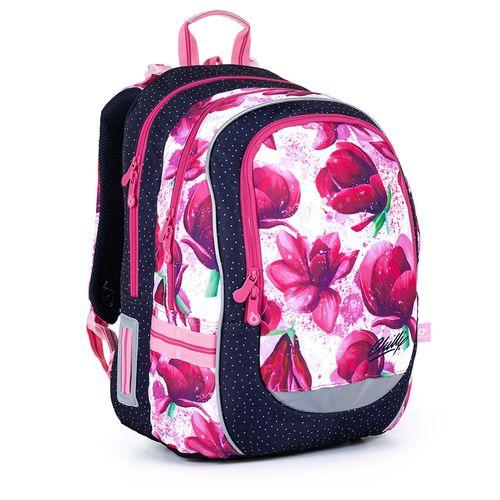 Dvoukomorový batoh s magnoliemi a barevnými tečkami CODA 21009