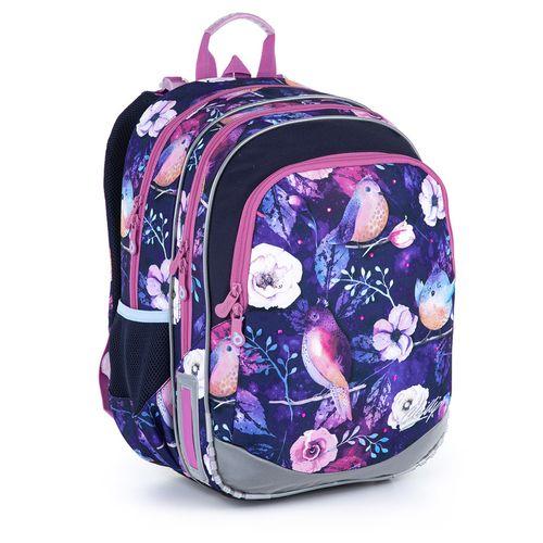 Niebieski plecak ze wzorem ptaków i kwiatów ELLY 21004