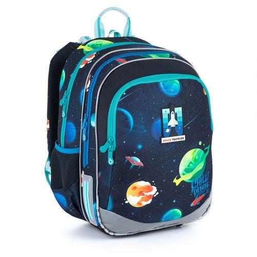 Plecak z rakietą i wzorem kosmosu do 1-4 klasy ELLY 21015