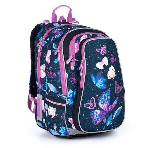 Objemný modrý batoh s motýlky a fialovými detaily LYNN 21007
