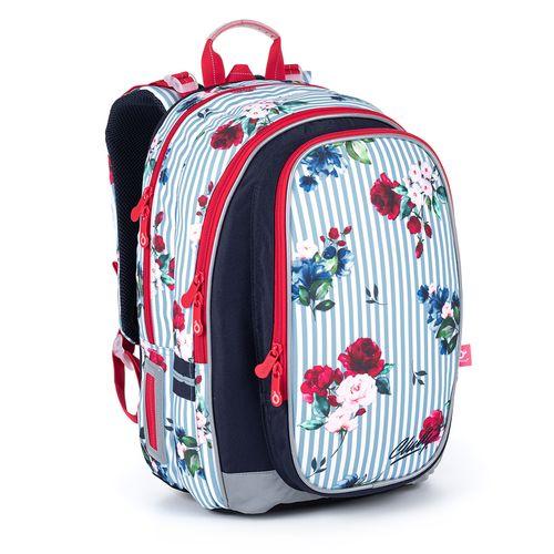 Objemný batoh zdobený proužky a růžemi MIRA 21008