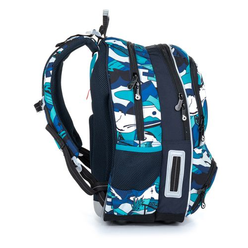 Školní batoh modro bílý v graffiti stylu NIKI 21022