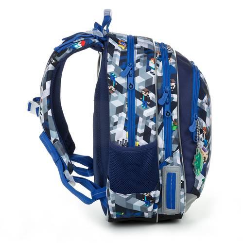 Školní batoh modrý s motivem minecraft ELLY 19014