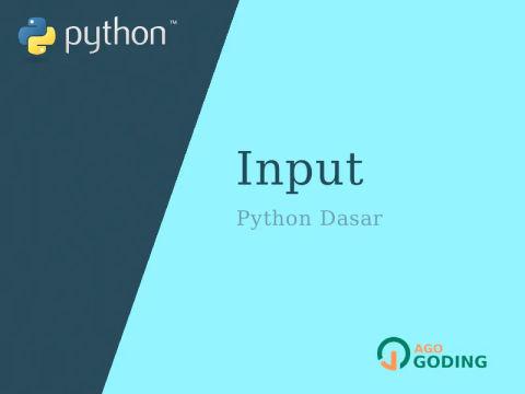 Python Dasar: Input 🐍