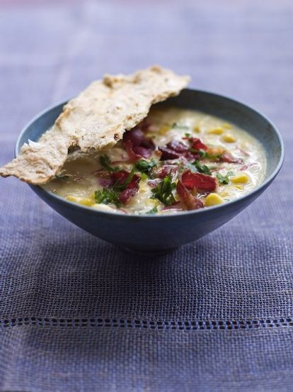 Corn chowder with a homemade chilli cracker
