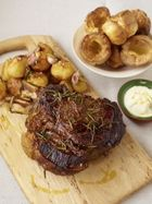 Roast forerib of beef with garlic & rosemary