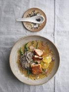 Salmon soba with ginger citrus dressing