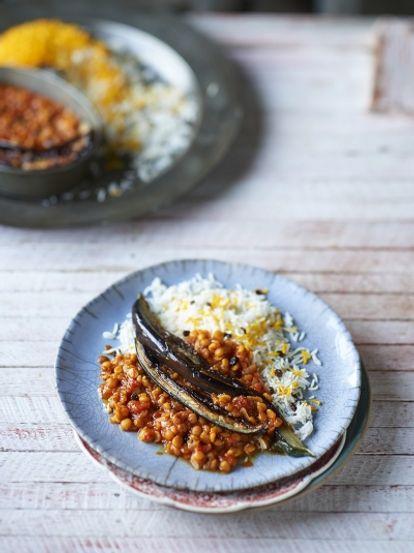 Yellow split pea  aubergine stew  Jamie Oliver