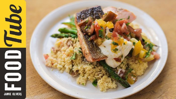 Pan-Fried Salmon with Tomato Couscous