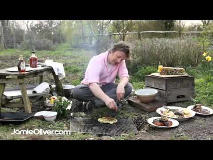 Jamie Oliver makes BBQ flat bread with wild garlic dressing