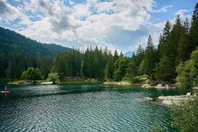 A mountain lake in Swiss Alps