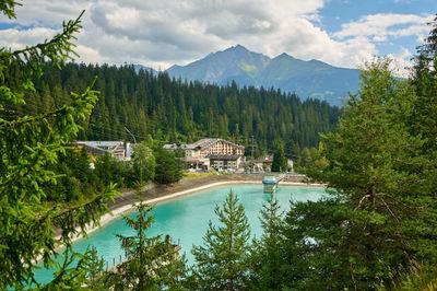 Mountain lake in Swiss Alps