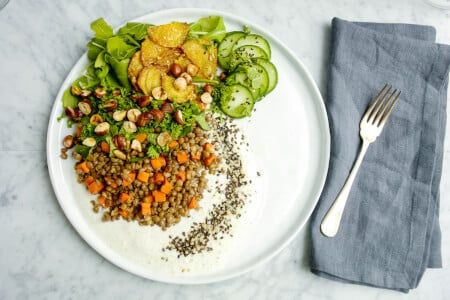French Lentil Salad with Lemon Tahini Dressing thumbnail