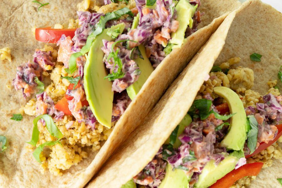 Tempeh Tacos with Purple Cabbage Slaw thumbnail