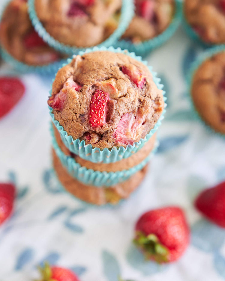Top of a Strawberry Rhubarb Muffin.
