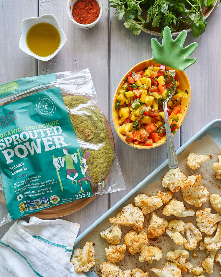 Sprouted wraps and roasted cauliflower