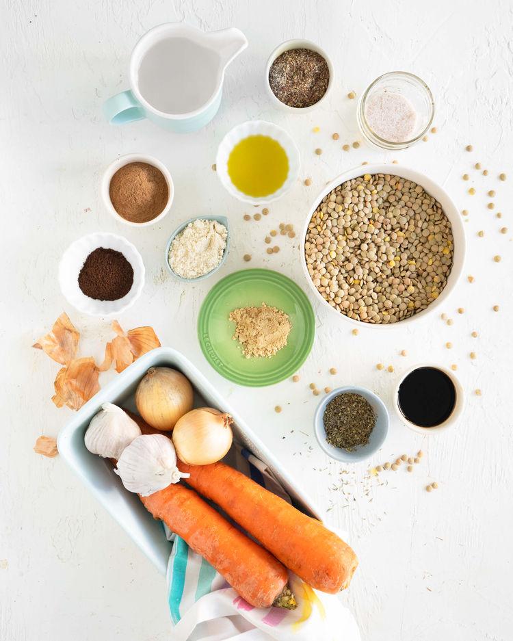 ingredients for lentil loaf