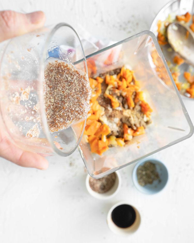 lentil loaf ingredients in blender
