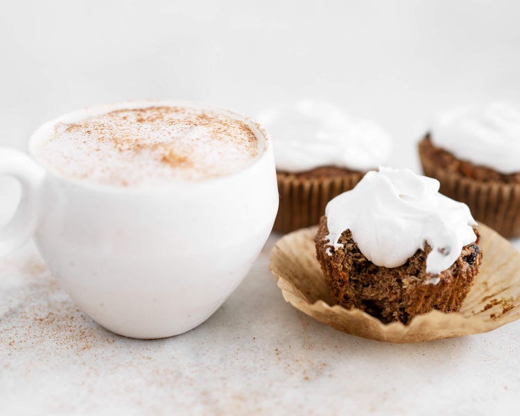 tea latte with carrot cake muffins