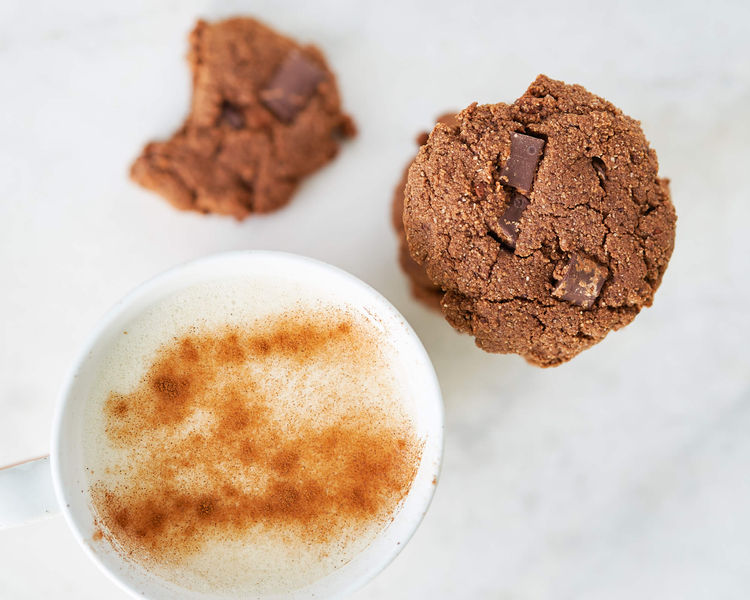 latte and cookies