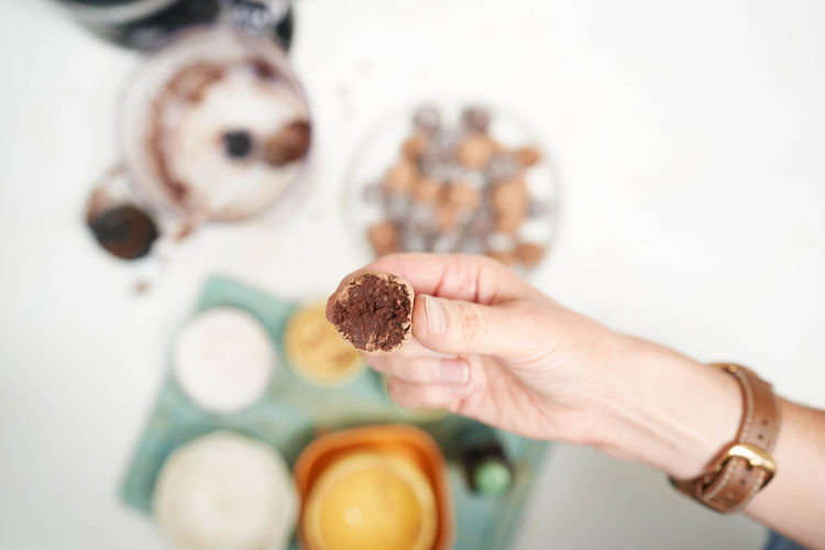 Inside of chocolate truffle