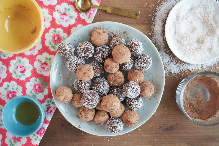 Plate of chocolate truffles