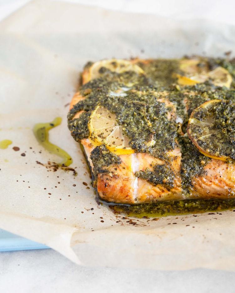 baked salmon with kale pesto