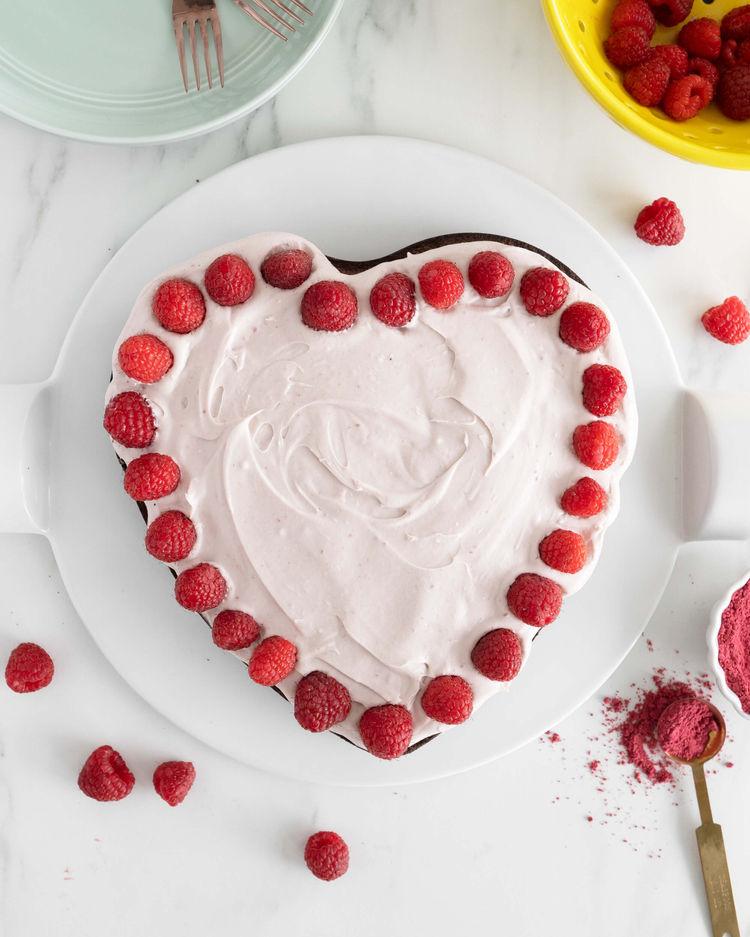 heart shaped almond flour cake