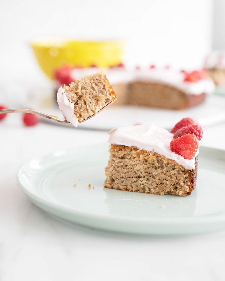 slice of almond flour cake
