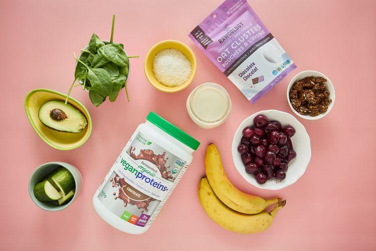 Smoothie bowl ingredients, avocado, vegan protein powder, cherries, zucchini