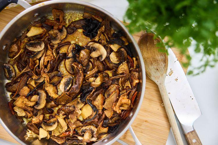 Mushrooms on a pan