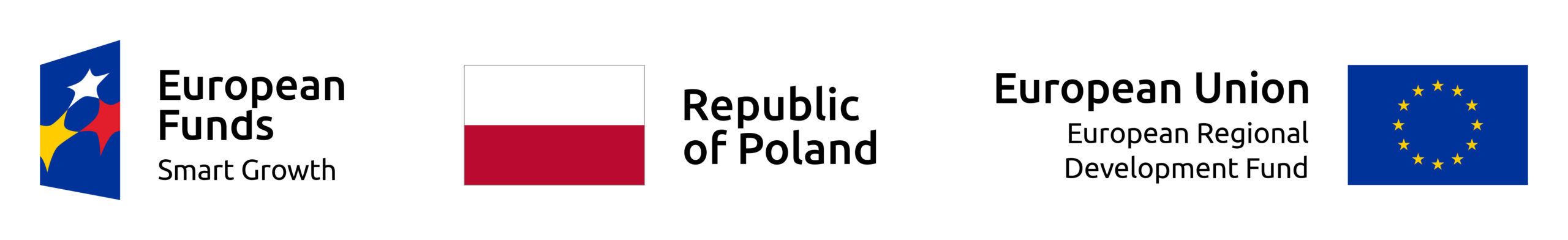 EU flag, flag of Republic of Poland, European Fund logo next to each other on a white background