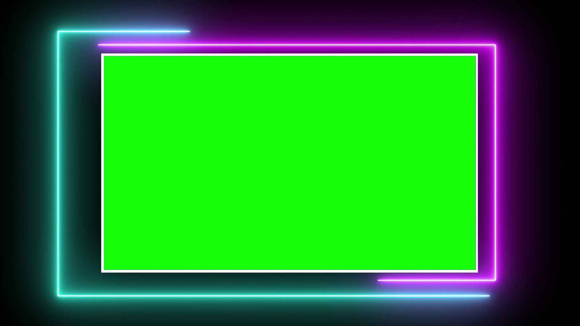 Neon Frame Animation with Green Screen Video