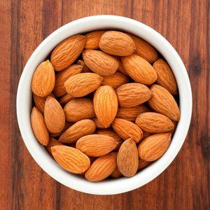 Aerial view of a bowl of almonds