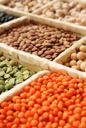 An assortment of colorful legumes