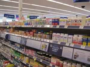 Supermarket shelf of nutritional supplements