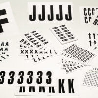 Individual self adhesive numbers & letters in white