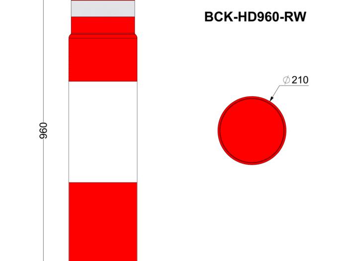 Bollard Cover Kit 960mm High Red & White