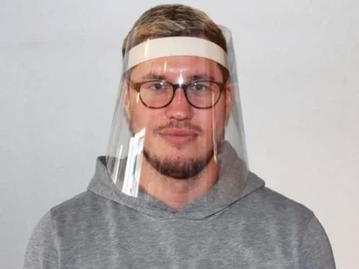 Face Shield on Man