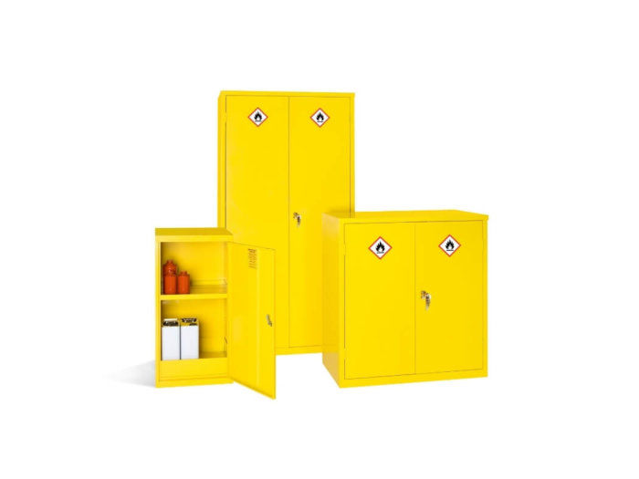 Group of Yellow COSHH Cabinets