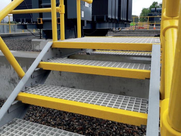 GRP Anti Slip Stair Nosing on Metal Stairs
