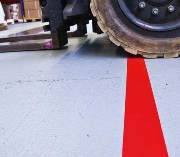 Pro-Line Vinyl Tape For Forklift Traffic - 50mm - Red on Floor