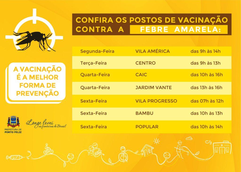 Unidades de Saúde de Porto Feliz realizam vacinação contra a Febre Amarela