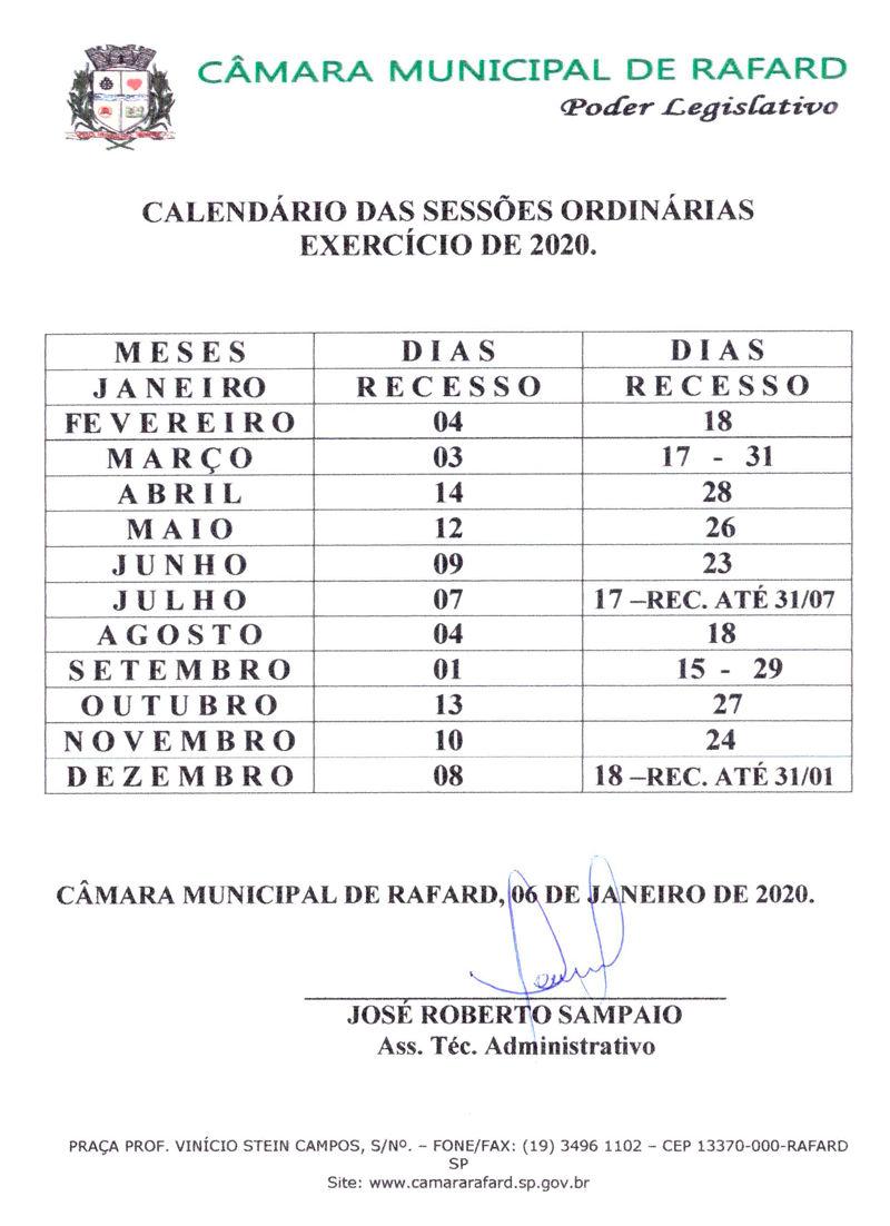 calendário oficial de sessões ordinárias câmara de rafard