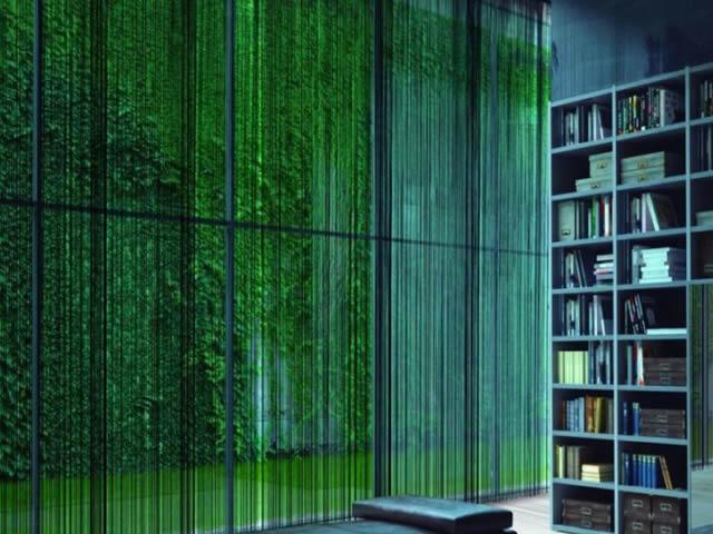 cortina string verde