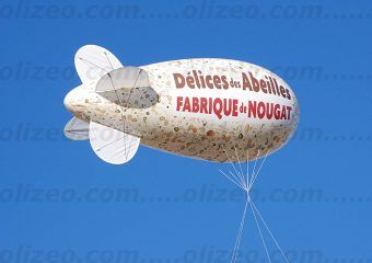 dirigeable helium avec marquage nougat sur toute la surface