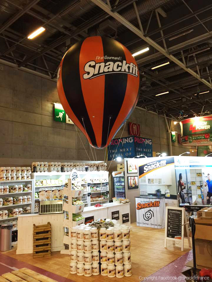 montgolfière publicitaire bicolore snackfit 3m