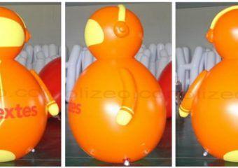personnage gonflable orange géant de 3 m